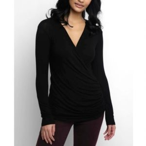 Abbeline Hacci Surplice Rouched Wrap Top in Black